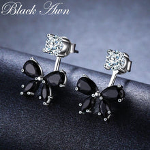 Load image into Gallery viewer, Romantic 925 Sterling Silver Butterfly Black Spinel Trendy Engagement Earrings for Women Fine Jewelry oorbellen Bijoux I046
