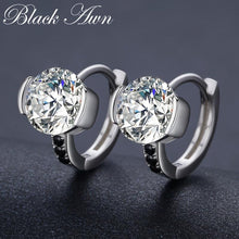 Load image into Gallery viewer, Black Awn Classic 925 Sterling Silver Round Black Trendy Spinel Engagement Hoop Earrings for Women Fine Jewelry Bijoux TT201