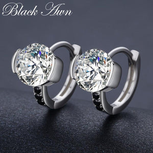 Black Awn Classic 925 Sterling Silver Round Black Trendy Spinel Engagement Hoop Earrings for Women Fine Jewelry Bijoux TT201
