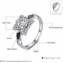 Load image into Gallery viewer, 2018 New Fower 925 Sterling Silver Fine Jewelry Engagement Black Spinel Flower Engagement  Ring for Women Anillos Mujer G086