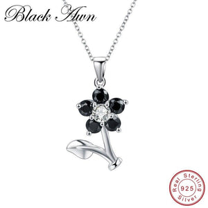 Black Awn Flower Silver Necklace Sterling Silver Design Fine Jewelry Trendy Engagement Necklaces for Women Wedding Pendants P164 - shopsatang.com