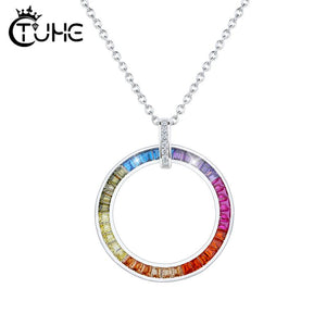 Big Circle Rainbow Cubic Zircon Pendants For Women European Colorful Party Silver Jewelry 925-Sterling-Silver Pendants Necklace
