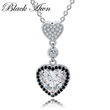 Load image into Gallery viewer, Black Awn Heart Necklaces Pendants 925 Sterling Silver Fine Jewelry Trendy Engagement Necklaces for Women Wedding Pendants PP156 - shopsatang.com
