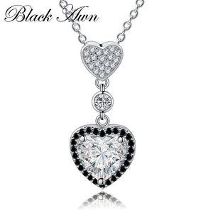 Black Awn Heart Necklaces Pendants 925 Sterling Silver Fine Jewelry Trendy Engagement Necklaces for Women Wedding Pendants PP156 - shopsatang.com