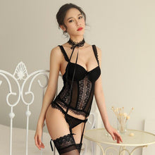 Load image into Gallery viewer, Women Sexy Erotic Lingerie Babydoll Sleepwear Sexy Porno Lingerie Hot Erotic Lace Babydoll Set Garter Black Porno Costumes Sexy