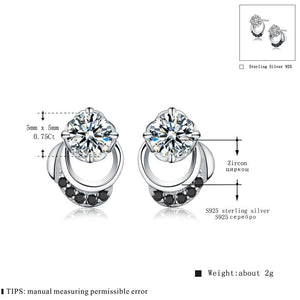 Black Awn 2019 New Cute Genuine 925 Sterling Silver Jewelry Wedding Stud Earrings for Women Female Earring TT096