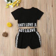 Load image into Gallery viewer, Girls Crop Top T shirt Shorts Love Cotton Outfit Kids Summer Clothes Set Age 1-7 Years