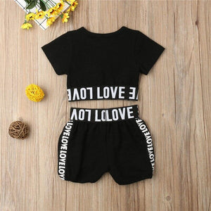 Girls Crop Top T shirt Shorts Love Cotton Outfit Kids Summer Clothes Set Age 1-7 Years