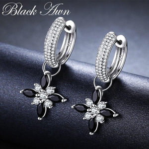 Black Awn Classic 100% Genuine 925 Sterling Silver Jewelry Black Spinel Stone Party Hoop Earrings for Women Bijoux Femme I078