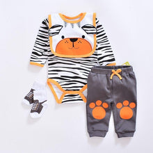 Load image into Gallery viewer, 2019 baby Boy's Clothing Set summer cotton Cartoon baby clothes Newborn Kids 4 Piece suits infant bodysuits+pants+socks+Bib/Cap