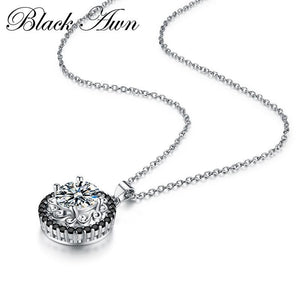 BLACK AWN Silver Necklace Genuine 100% 925 Sterling Silver Slide Necklace Women Jewelry Classic Round Necklaces&Pendants P113