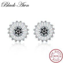 Load image into Gallery viewer, Black Awn Birthday Present 925 Sterling Silver Jewelry Engagement Round Stud Earrings for Women Black Spinel Female Earring I013