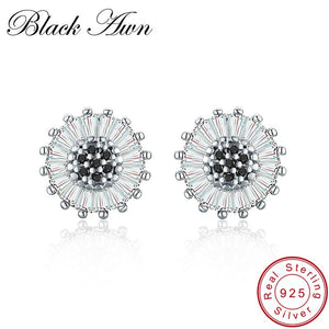 Black Awn Birthday Present 925 Sterling Silver Jewelry Engagement Round Stud Earrings for Women Black Spinel Female Earring I013