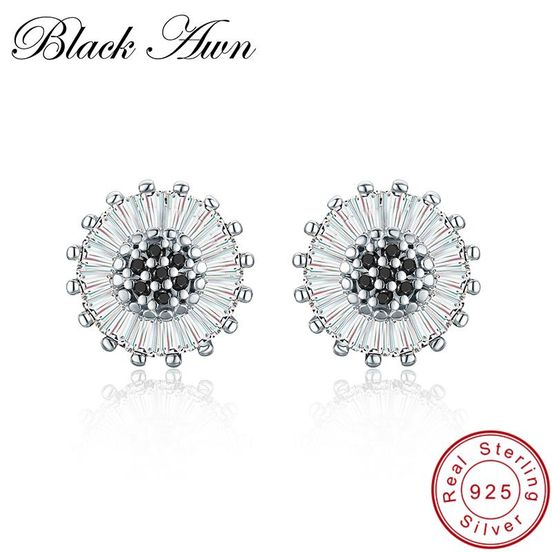 Black Awn Birthday Present 925 Sterling Silver Jewelry Engagement Round Stud Earrings for Women Black Spinel Female Earring I013 - shopsatang.com