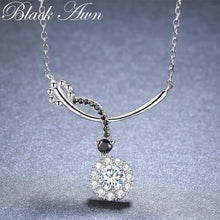 Load image into Gallery viewer, Black Awn Romantic New Arrive 925 Sterling Silver Fine Jewelry Trendy Round Engagement necklaces & pendants for Women KK027 - shopsatang.com
