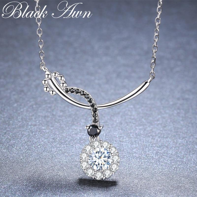 Black Awn Romantic New Arrive 925 Sterling Silver Fine Jewelry Trendy Round Engagement necklaces & pendants for Women KK027 - shopsatang.com