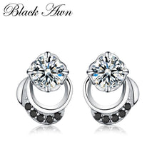 Load image into Gallery viewer, Black Awn 2019 New Cute Genuine 925 Sterling Silver Jewelry Wedding Stud Earrings for Women Female Earring TT096 - shopsatang.com