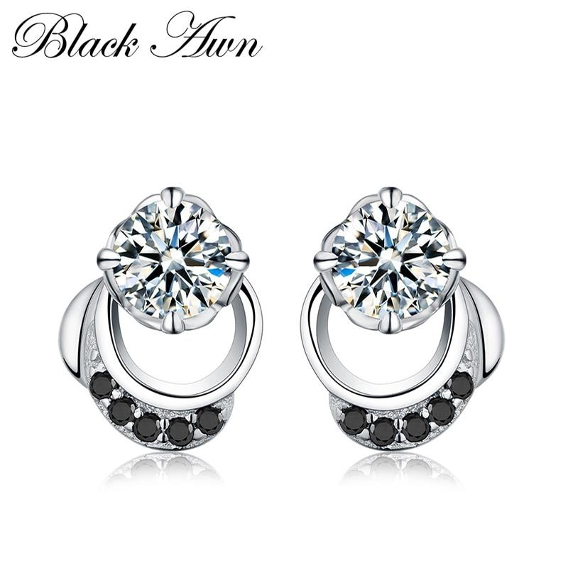 Black Awn 2019 New Cute Genuine 925 Sterling Silver Jewelry Wedding Stud Earrings for Women Female Earring TT096 - shopsatang.com