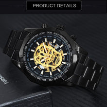Load image into Gallery viewer, WINNER Steampunk Skull Auto Mechanical Watch Men Black Stainless Steel Strap Skeleton Dial Fashion Cool Design Wrist Watches