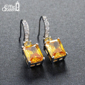 Effie Queen 4ct Big Square AAA Yellow Cubic Zircon Earrings Luxury Women Wedding Engagement Dangle Earrings Jewelry HOE126