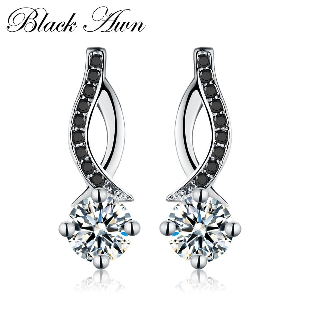 Genuine 925 Sterling Silver Jewelry Black&White Stone Engagement Stud Earrings for Women T014 - shopsatang.com