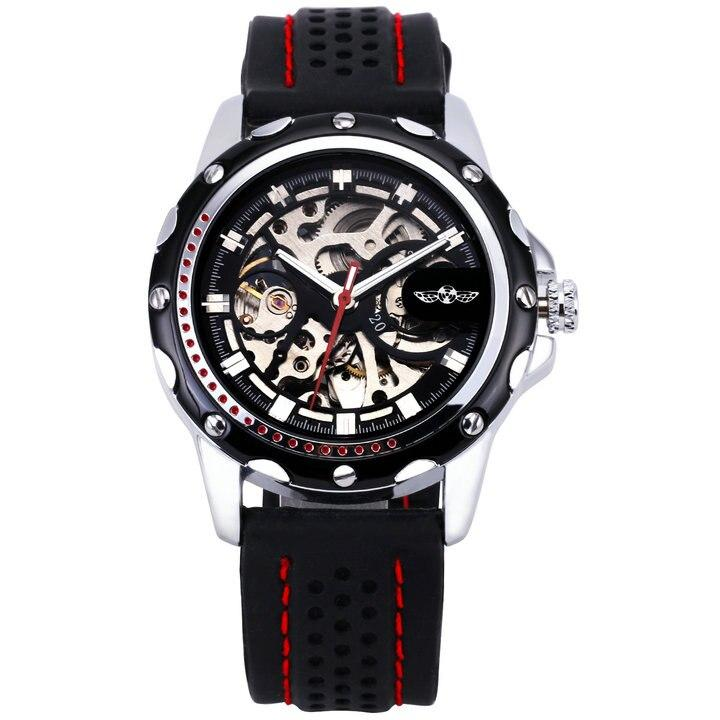 WINNER Official 2019 New Fashion Men Automatic Mechanical Watches Luxury Brand Skeleton Luminous Hands Rubber Strap Sport Clock - shopsatang.com