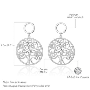 Rose Gold Silver Cubic Zirconia Tree of life Drop earrings Big Round Design Earring Women Luxury Jewelry Christmas Wedding Gift