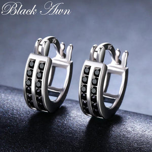 Black Awn Birthday Present 925 Sterling Silver Square Black Spinel Trendy Engagement  Earrings for Women Fine Jewelry II019