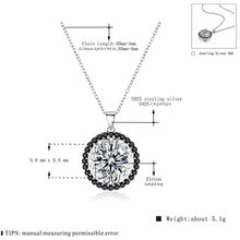 Load image into Gallery viewer, BLACK AWN Silver Necklace Genuine 100% 925 Sterling Silver Slide Necklace Women Jewelry Classic Round Necklaces&Pendants P113