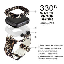 Load image into Gallery viewer, Waterproof Case For Apple Watch Band 4 iWatch Bands 42mm Silicone Strap 44mm Leopard Bracelet Cover Smart Watch Accessories