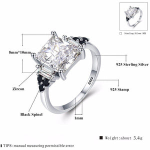 2019 New Fower 925 Sterling Silver Fine Jewelry Engagement Black Spinel Round Engagement Ring for Women Anillos Mujer G091