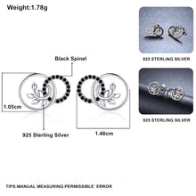 Load image into Gallery viewer, Black Awn New Classic 925 Sterling Silver Natural Black Spinel Round Wedding Stud Earrings for Women Fine Jewelry Bijoux II090