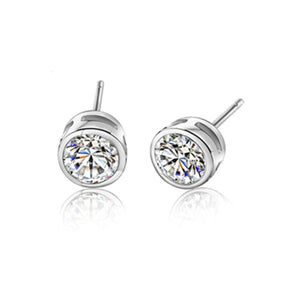 BLACK AWN Classic 925 Sterling Silver Earrings Cute Stud Earrings for Women Silver 925 Jewelry Round Boucles d'oreilles I300