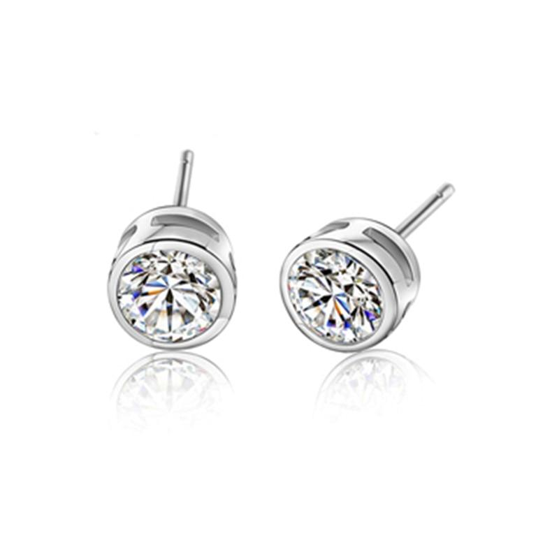 BLACK AWN Classic 925 Sterling Silver Earrings Cute Stud Earrings for Women Silver 925 Jewelry Round Boucles d'oreilles I300 - shopsatang.com