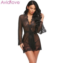 Load image into Gallery viewer, Avidlove Women Sexy Lingerie Cotton Plus Size Erotic Lingerie Long Sleeve Lace Nightwear Summer Babydoll Sexy Uderwear Clothes - shopsatang.com