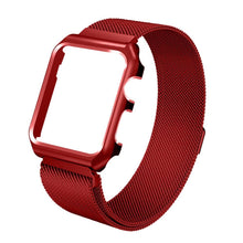 Load image into Gallery viewer, Rolamy Milan Case Strap for Apple iphone Watch strap 38 42 mm Band Stainless Steel Metal Bands Shockproof Magnetic for Iwatch