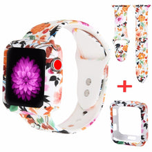 Load image into Gallery viewer, Beorcabo Soft Silicone Watch Strap Printed Flower Repalcement for Apple Watch Band 1 2 3 Series with Protect Case for Iwatch