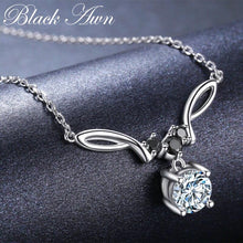 Load image into Gallery viewer, BLACK AWN New Arrival Classic Real 925 Sterling Silver Pendant Necklaces Women Wedding Jewelry for Women K025