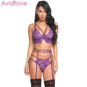Avidlove Plus Size Women Sexy Bra Set Intimates Embroidery Lingerie High Waist Transparent Bralette Seamless Sexy Underwear - shopsatang.com