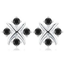 Load image into Gallery viewer, Black Awn Romantic 925 Sterling Silver Jewelry Natural Black Spinel Party Stud Earrings for Women Bijoux I118