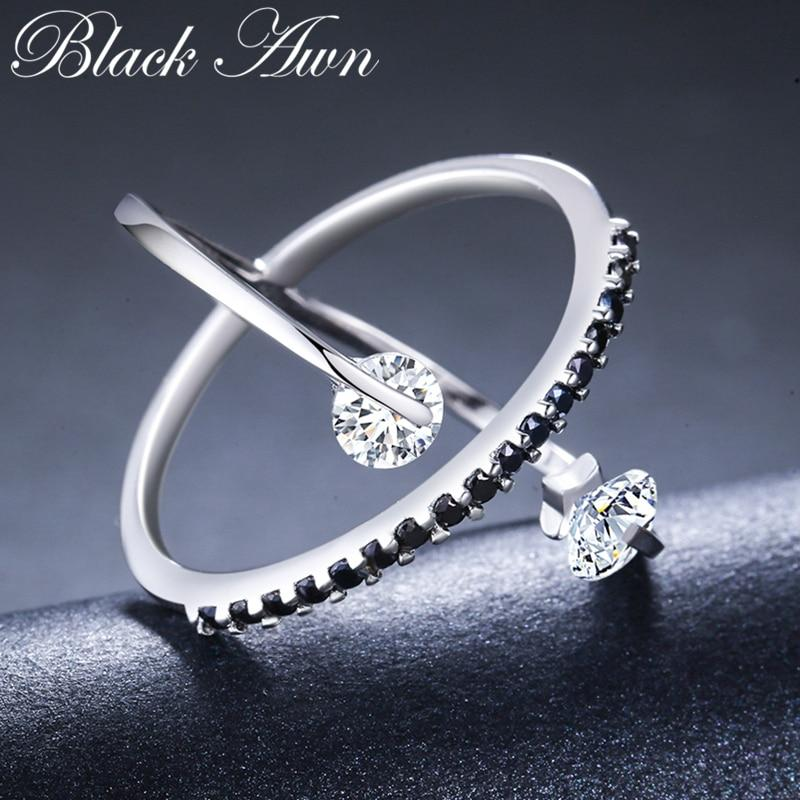 2019 New Arrival Romantic 925 Sterling Silver Fine Jewelry Engagement Black Spinel Engagement  Ring for Women Anillos Mujer G044