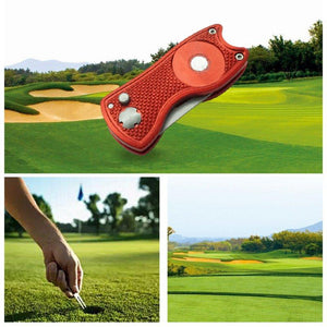 mini Foldable Golf Divot Tool with Golf Ball Tool Marker Pitch Cleaner Golf Pitchfork Golf Accessories Putting Green Fork