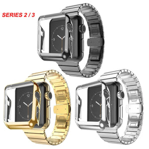 Gold Plating Protective Case Cover + Stainless Steel Band for Apple Watch Series 2 3 Strap For iWatch Bracelet Wristband 38/42mm