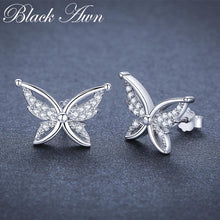 Load image into Gallery viewer, Black Awn Romantic 925 Sterling Silver Jewelry Natural Cute Butterfly Party Stud Earrings for Women Bijoux II111