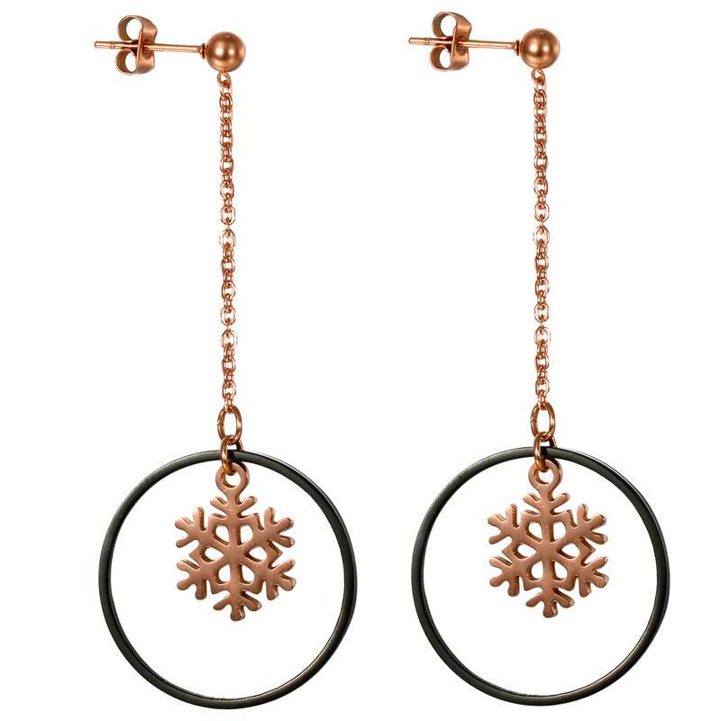 Boniskiss Top Quality Snowflake Tassels Rose Gold Color Drop Earrings Jewelry Circle Earrings For Women Wholesale Price (Rose Gold Color) - shopsatang.com