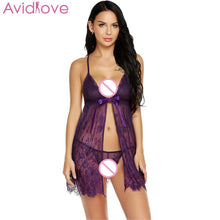 Load image into Gallery viewer, Avidlove Women's  Pajamas Sexy Lingerie Hot Erotic Nightwear Open G-String Front Floral Sleepwear Ribbon Babydoll Nightgown - shopsatang.com