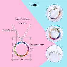 Load image into Gallery viewer, Big Circle Rainbow Cubic Zircon Pendants For Women European Colorful Party Silver Jewelry 925-Sterling-Silver Pendants Necklace