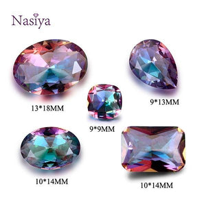 NASIA Mysterious Rainbow Created Stone Beads Spinel Zircon Drop Square Rectangle Oval Loose Gemstone for Ring Jewelry DIY 10 Pcs
