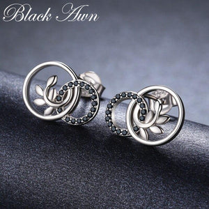 Black Awn New Classic 925 Sterling Silver Natural Black Spinel Round Wedding Stud Earrings for Women Fine Jewelry Bijoux II090