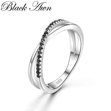 Load image into Gallery viewer, Casual 2g 925 Sterling Silver Fine Jewelry Trendy Engagement Bague Black Spinel Leaf Women's Wedding Ring Bijoux Femme GG009